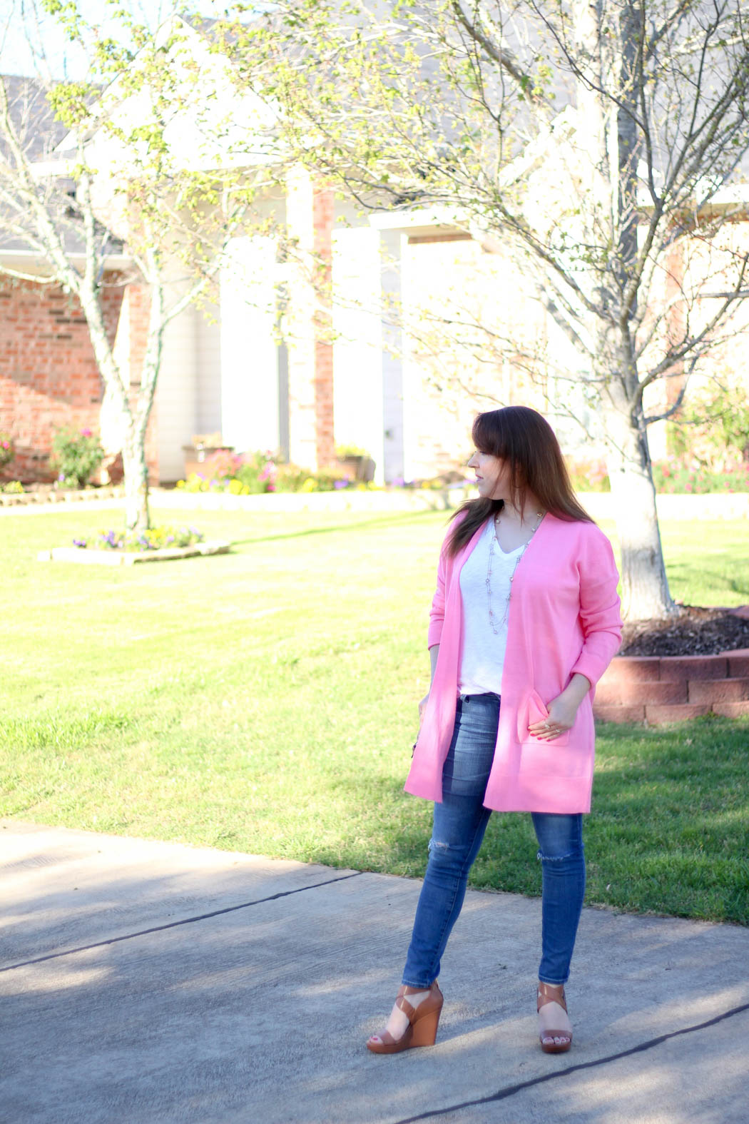 Pink-boyfriend-cardi-Luggage-wedges-3