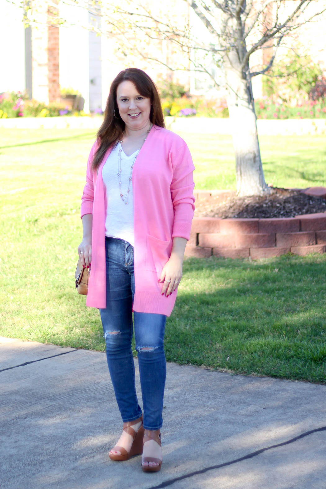 Pink-boyfriend-cardi-Luggage-wedges-5