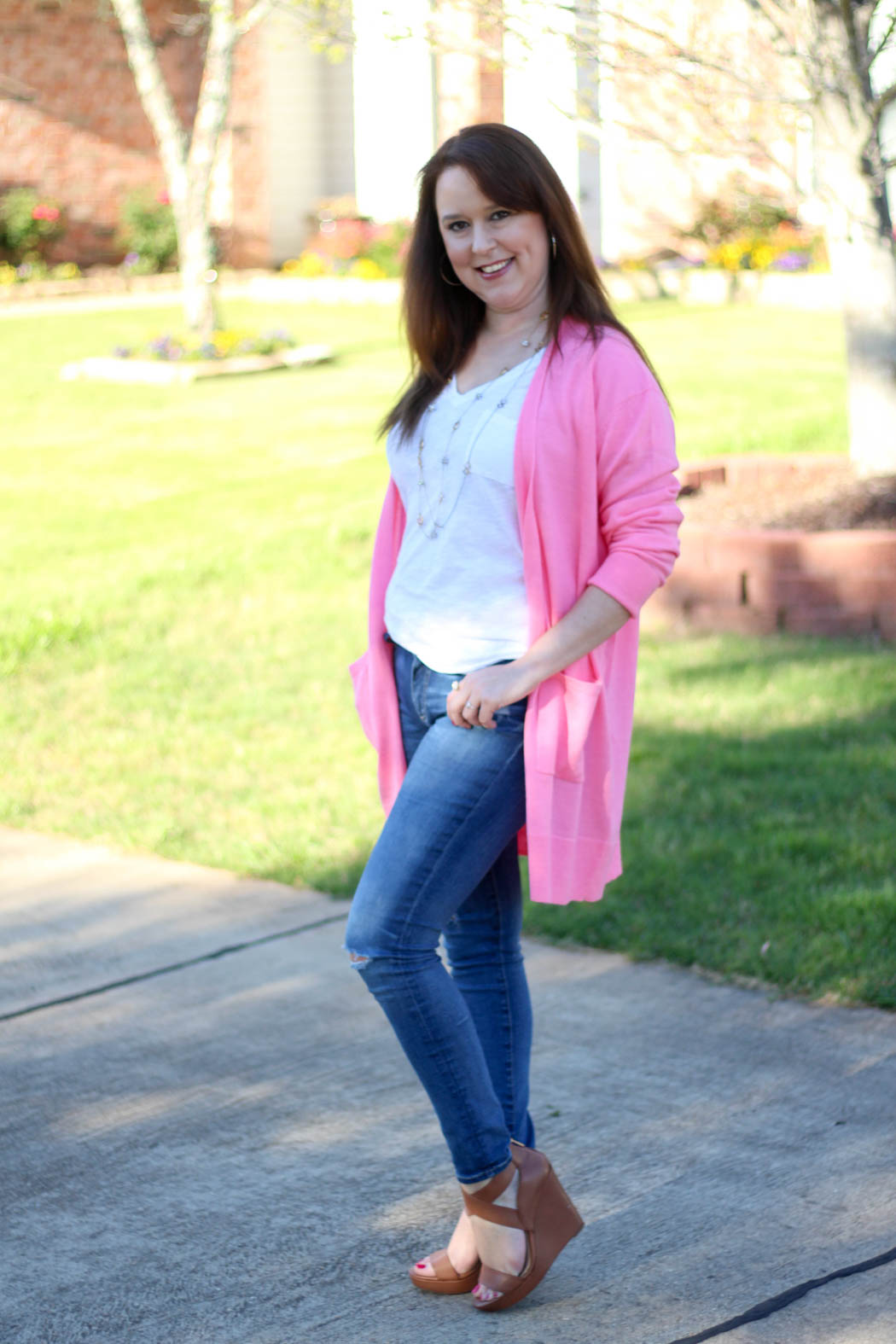 Pink-boyfriend-cardi-Luggage-wedges-7