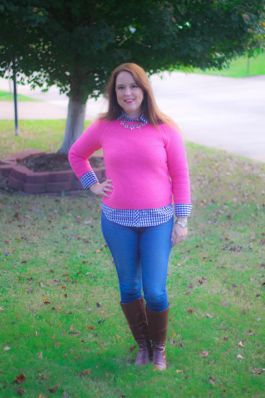 haute-hydrangea-pink-sweater-gingham-buttondown-knee-high-boots-1