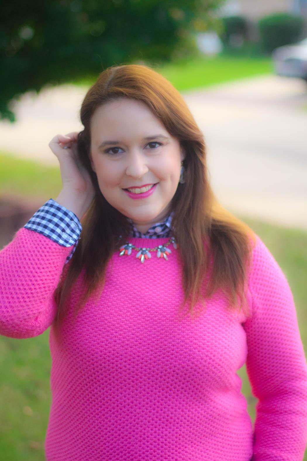 haute-hydrangea-pink-sweater-gingham-buttondown-knee-high-boots-2