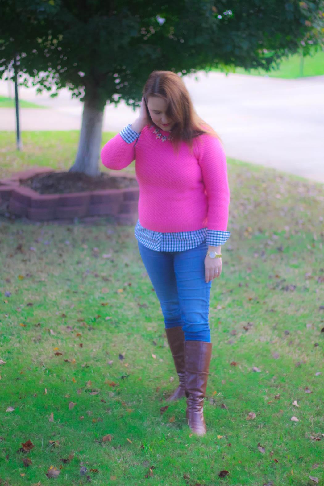 haute-hydrangea-pink-sweater-gingham-buttondown-knee-high-boots-3