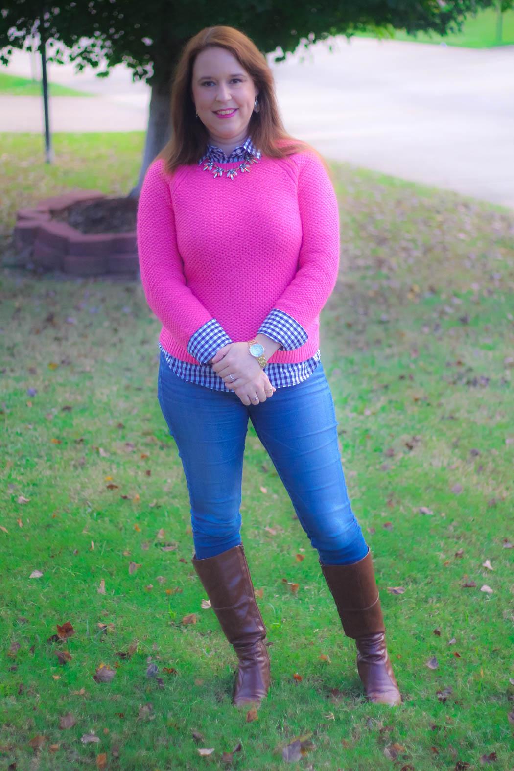 haute-hydrangea-pink-sweater-gingham-buttondown-knee-high-boots-5