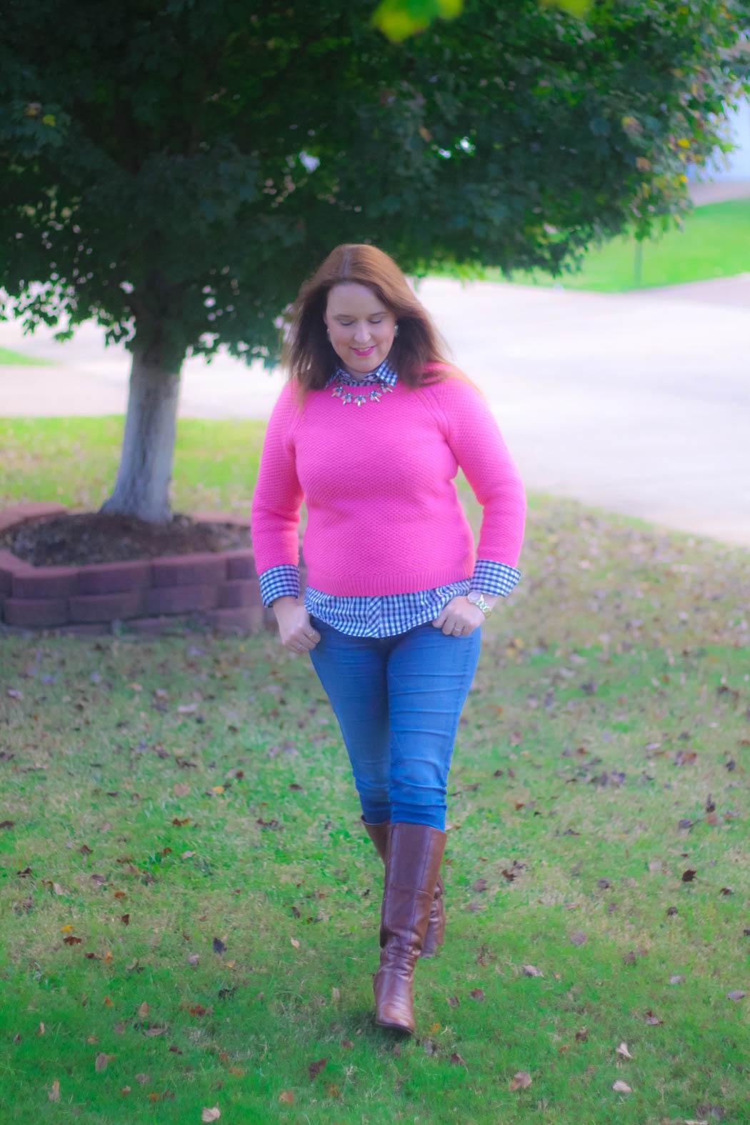 haute-hydrangea-pink-sweater-gingham-buttondown-knee-high-boots-7