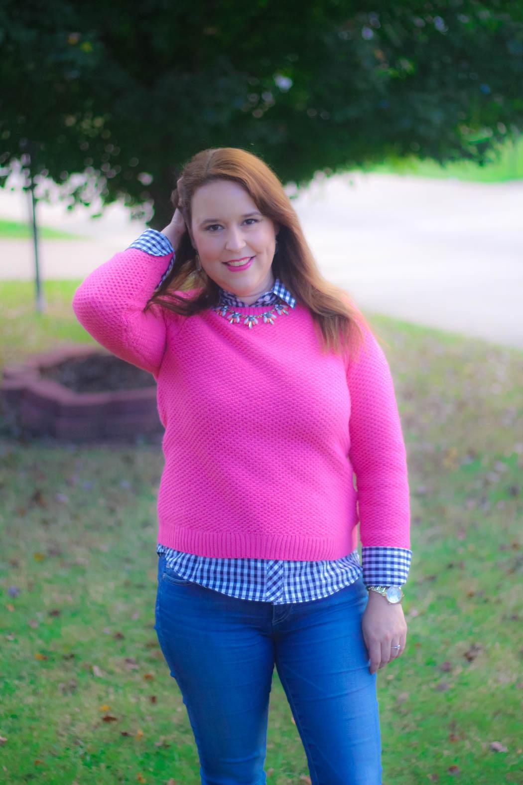haute-hydrangea-pink-sweater-gingham-buttondown-knee-high-boots-8