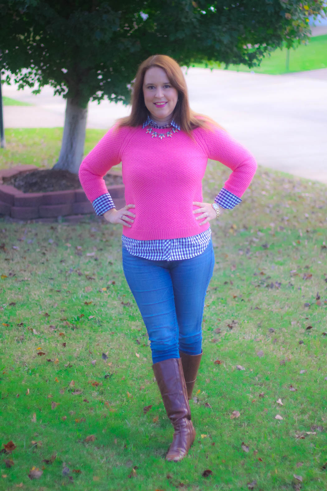 haute-hydrangea-pink-sweater-gingham-buttondown-knee-high-boots-9