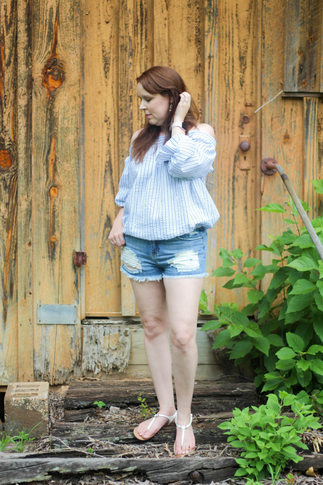 61f332b06dfb9 Chicwish Striped Off-the-Shoulder Top with Bowknot    Sun   Shadow  Distressed Denim Shorts