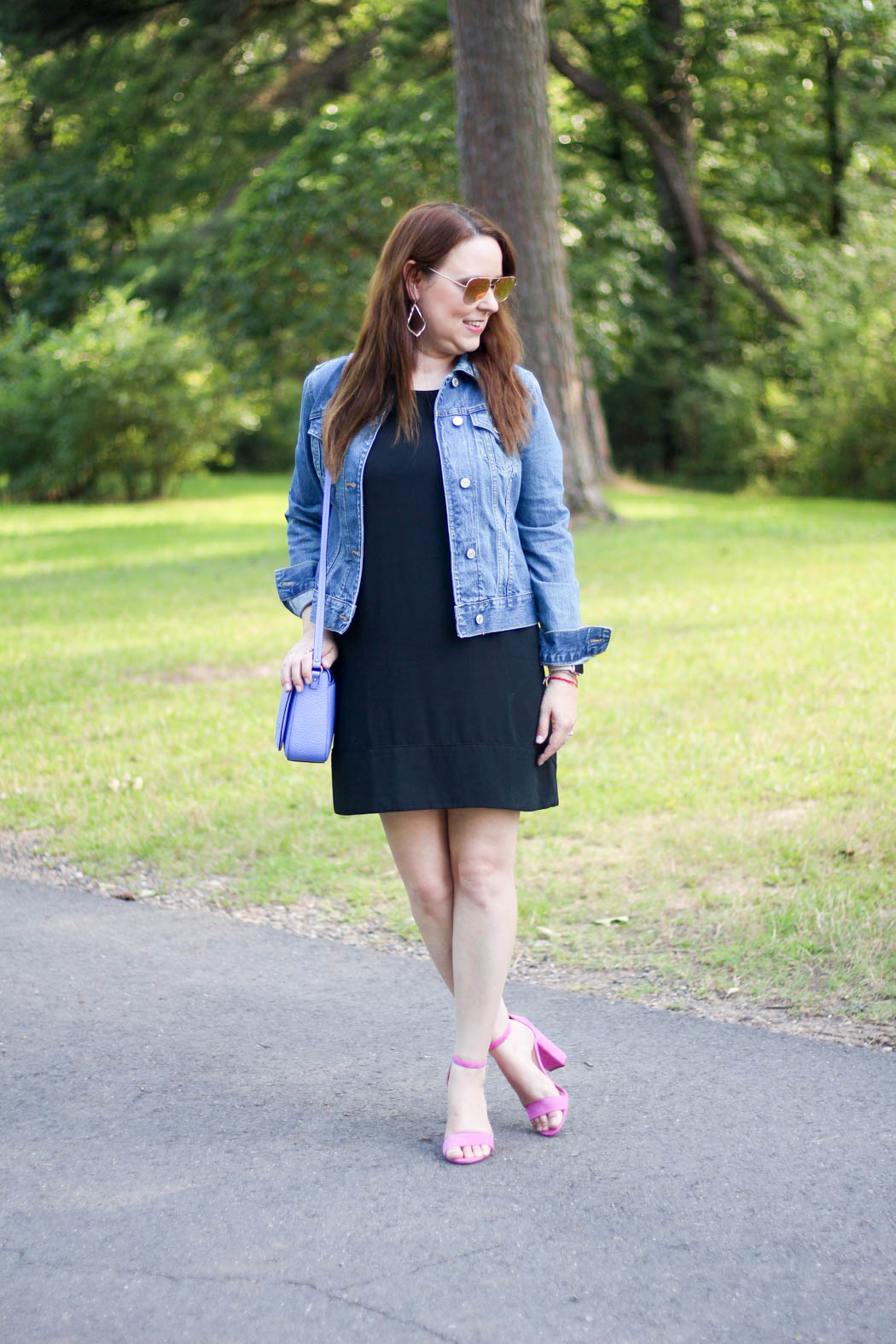 leith racerback shift dress & denim jacket