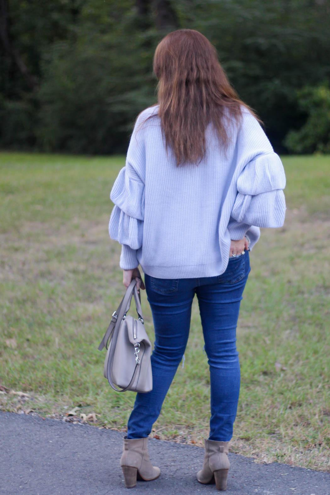 layered ruffle sleeve cardigan