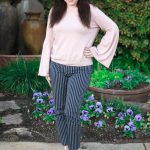 Pinstriped Pants & a Bell Sleeve Sweater