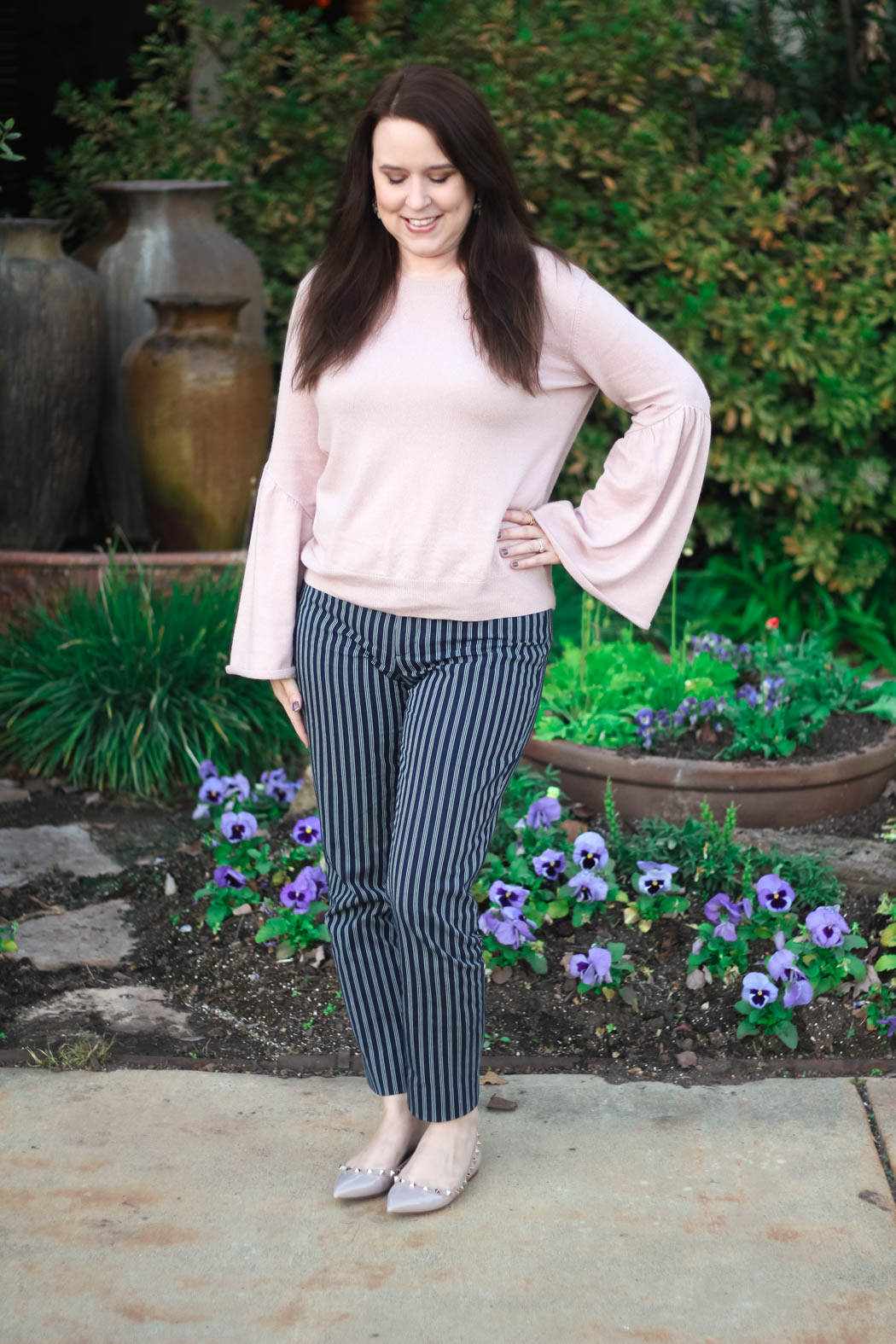 d8b2542943 Leith Bell Sleeve Sweater // Banana Republic Sloan Skinny-Fit Pants (on  sale!) // Valentino Rockstud Ballerina Flats, less expensive dupe here //  Perry ...