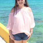 Off the Shoulder Chiffon Top in Costa Maya